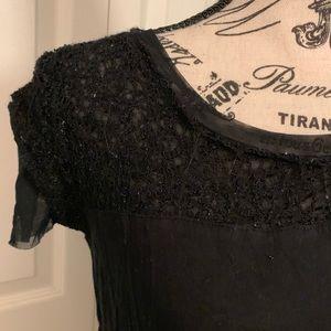Vera Wang lace topped slinky tee